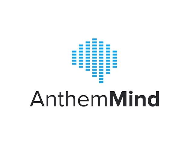 Эквалайзер звуковая волна ритм с мозгом простой гладкий геометрический современный дизайн логотипа