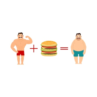 Equation with men and fast food