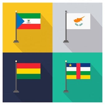Equatorial guinea cyprus bolivia and central african republic flags