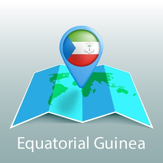 Equatorial guinea flag world map in pin with name of country on gray background