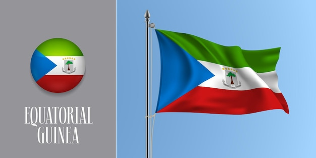 Equatorial guinea waving flag on flagpole and round icon vector illustration. realistic 3d mockup with design of flag and circle button