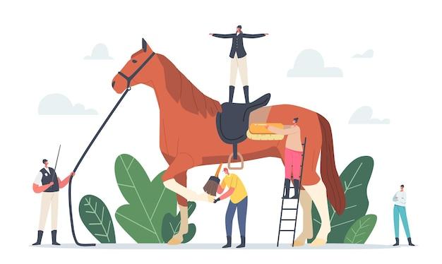 乗馬スポーツと調教の概念。馬に乗った騎手が立っているサラブレッドスタリオンの周りの厩務員とトレーナーのキャラクター。動物の世話、クラブ。漫画の人々のベクトル図