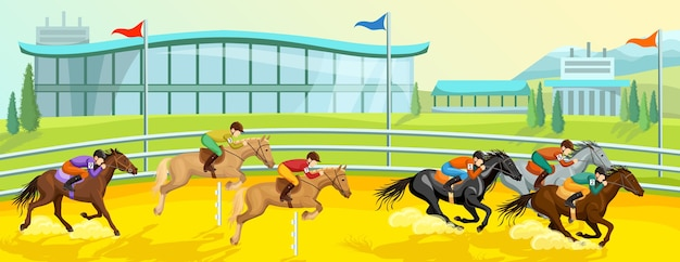 Equestrian sport cartoon banner template with running and jumping horses with riders at competition