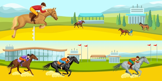 Equestrian sport cartoon horizontal illustrations