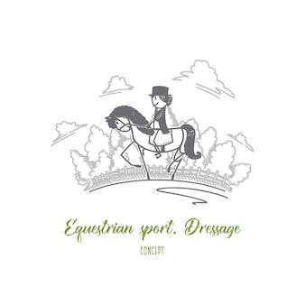 Иллюстрация концепции выездки конного спорта