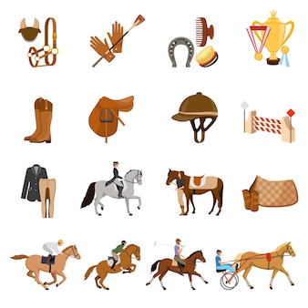 Equestrian sport elements set