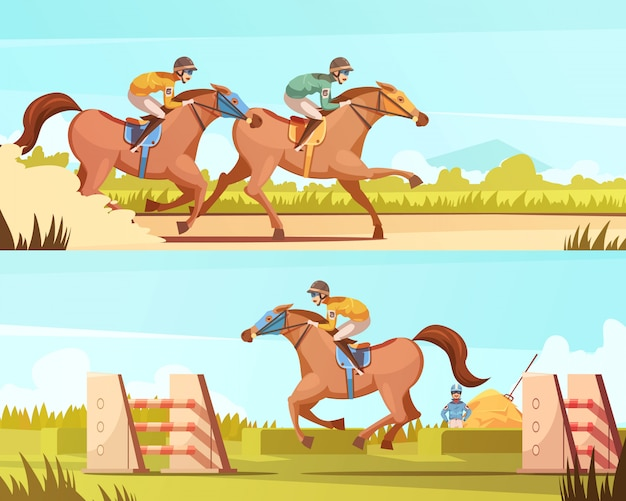 Equestrian sport horizontal banners with horse riding and racing cartoon compositions flat vector illustration