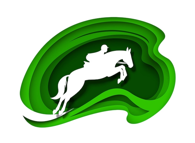 Конный спорт, скачки, скаковая лошадь с наездником-жокеем, белые силуэты, векторная иллюстрация, вырезанная из бумаги ...