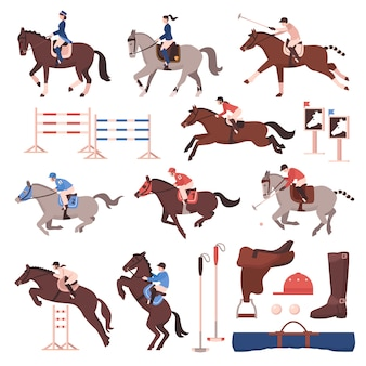 Equestrian sport icon set