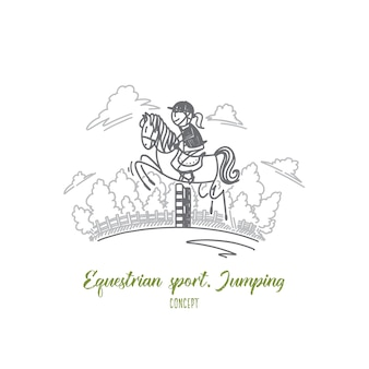 Equestrian sport jumping concept
