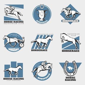 Equestrian sport vintage logos set