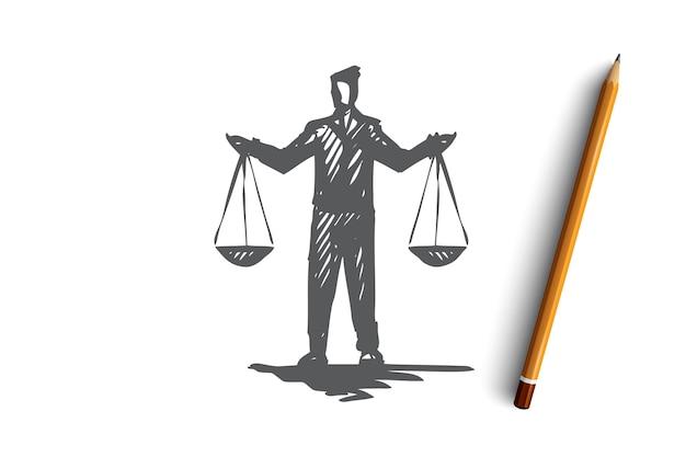 Равновесие, баланс, равенство, масштаб, понятие справедливости. ручной обращается человек с весами в руках эскиз концепции.