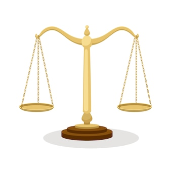 Equilibrium scales. standing balance judicial scales isolated on white, court concept cartoon