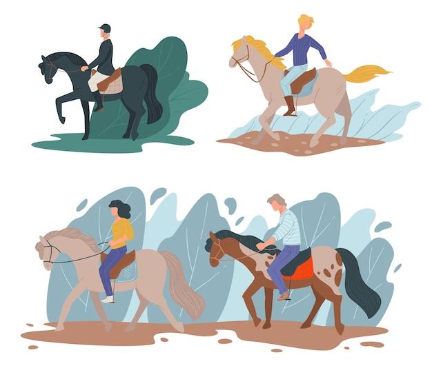 말 타는 것을 가르치고 배우는 사람들의 취미. 말을 탄 전문 기수, 보호용 헬멧이 달린 특수 유니폼을 입은 경주 캐릭터, 평평한 스타일의 레저 벡터