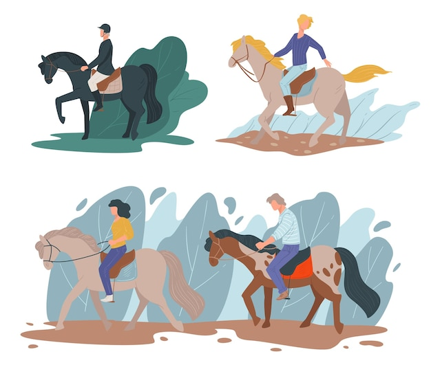 Equine hobby of people teaching and learning to ride horseback. professional jockeys on horses, racing characters wearing special uniform with protective helmet, leisure vector in flat style