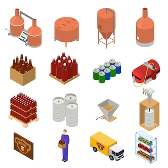 醸造工場の設備とビール生産セットのアイソメビュースタイル要素。ベクトルイラスト
