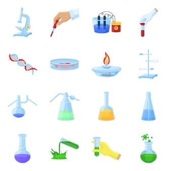 Equipment for chemical lab cartoon elements set. isolated illustration for chemical lab. elements set of microscope. flask. tube and ohter equipment.