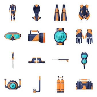 Equipment for diving  cartoon icon set.