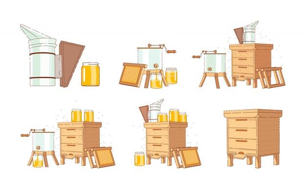 양봉용 장비. 꿀을 모아서 생산하십시오. 프리미엄 벡터