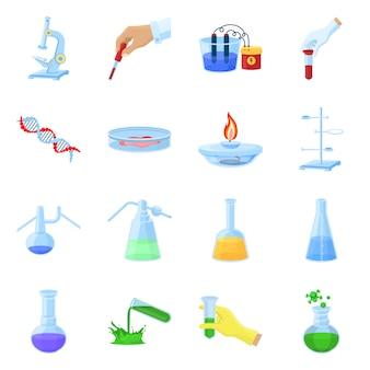 Оборудование для химической лаборатории мультфильм элементы набора. изолированные иллюстрации для химической лаборатории. элементы набора микроскопа. колба. трубное и другое оборудование.