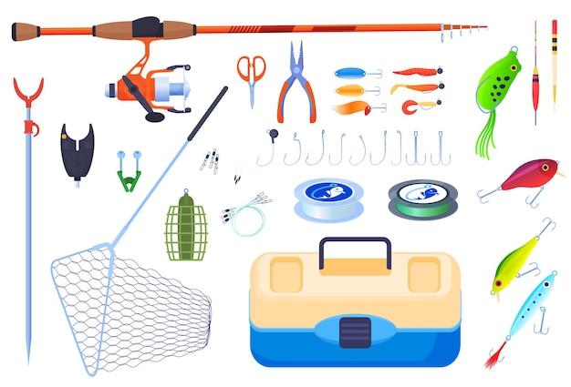 釣り用の機器。釣り竿、釣り糸、フック、フロート、餌、ボート、釣りブーツ、ネット。