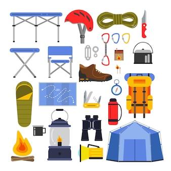 ハイキングや登山のための機器。キャンプや旅行のベクトルイラストセット