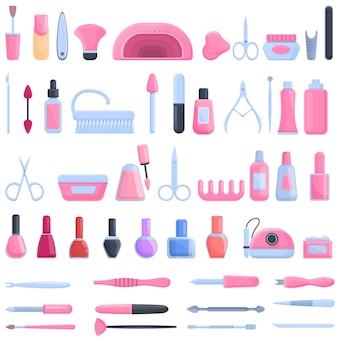Набор оборудования для маникюра иконок. мультфильм набор оборудования для маникюрных иконок