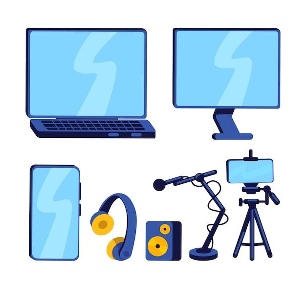 블로거 플랫 컬러 개체 세트 용 장비. 스마트 폰, 컴퓨터 및 마이크. 웹 그래픽 디자인 및 애니메이션 컬렉션을위한 팟 캐스트 격리 된 만화 그림을 기록하는 기술 설정