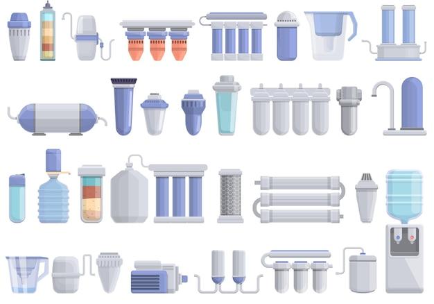 물 정화 아이콘을 위한 장비를 설정합니다. 웹 디자인을 위한 물 정화 벡터 아이콘을 위한 장비의 만화 세트