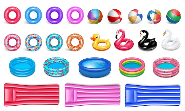 Equipment for the pool. realistic style. set of rubber icons for water sports and recreation.