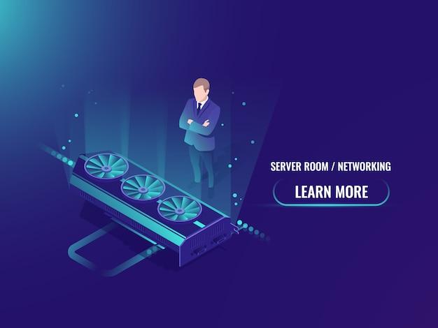 Equipment power rent isometric mining server room neon style