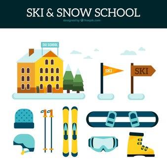 Equipment set and ski resort