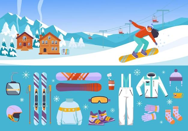 装備スキーヤーとスノーボーダーのセット