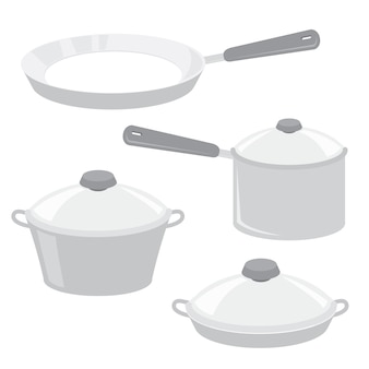 Equipment tool kitchen cook pot pan vector