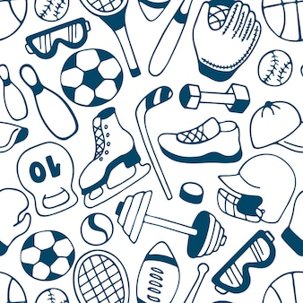 Equipment for winter and summer sports seamless pattern. baseball. american football. hockey.