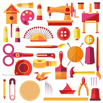 Equipments vector poster for sewing and handmade