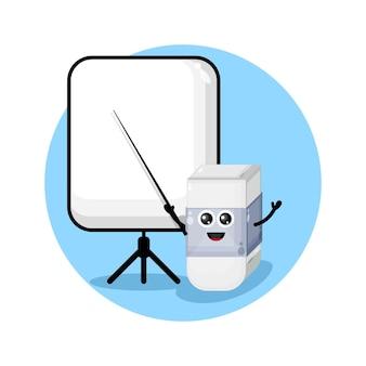 Eraser becomes a teacher mascot character logo