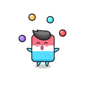 The eraser circus cartoon juggling a ball , cute style design for t shirt, sticker, logo element