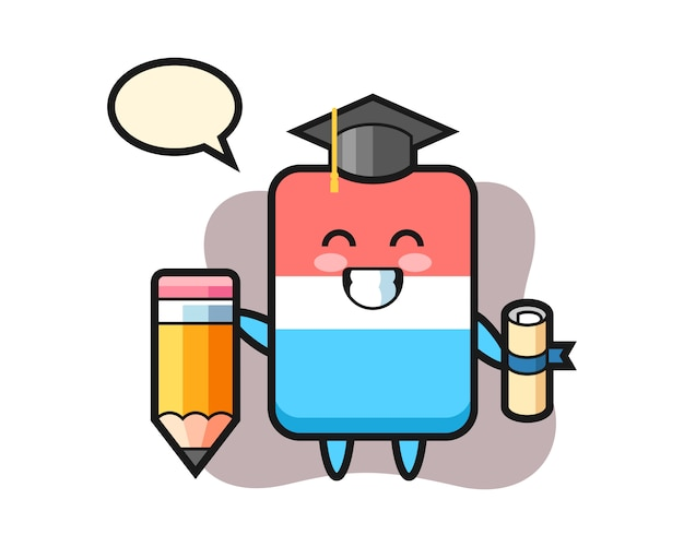 Eraser illustration cartoon is graduation with a giant pencil, cute style , sticker, logo element