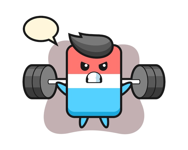 Eraser mascot cartoon with a barbell, cute style , sticker, logo element