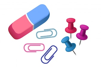 Eraser. Rubber, pin, paper clip. Stationery concept.