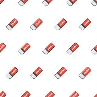흰색 배경에 지우개 원활한 패턴입니다. 학교 및 사무실 테마 벡터 일러스트 레이 션