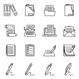 . документ, бумага и значок папки установлены. значок вектора тонкой линии стиля значокerer установленный с белой предпосылкой. стиль тонкой линии