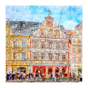 에르푸르트 독일 수채화 손으로 그린 그림