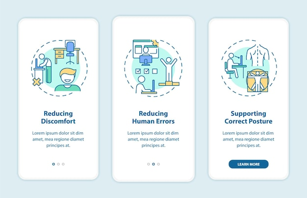 Ergonomic design benefits onboarding mobile app page screen with concepts