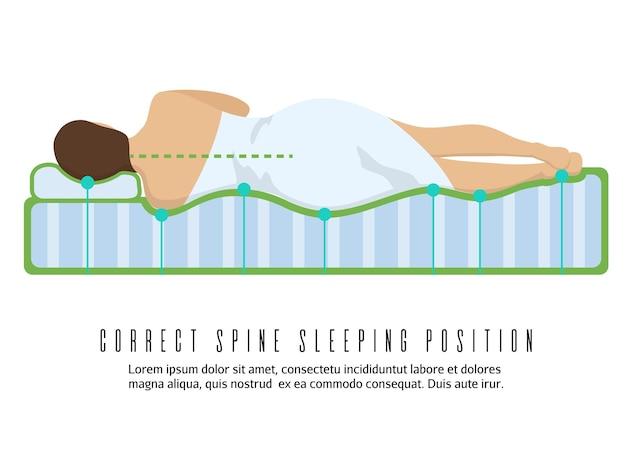 人間工学に基づいた整形外科用マットレスのイラスト。