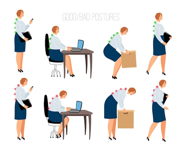 Эргономичные женские позы. женское правильное и неправильное положение за рабочим столом и подъемом ящиков, сидя и стоя векторная иллюстрация с женскими моделями