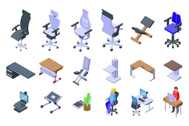 Набор эргономичных иконок на рабочем месте. изометрические набор эргономичных векторных иконок рабочего места для веб-дизайна на белом фоне