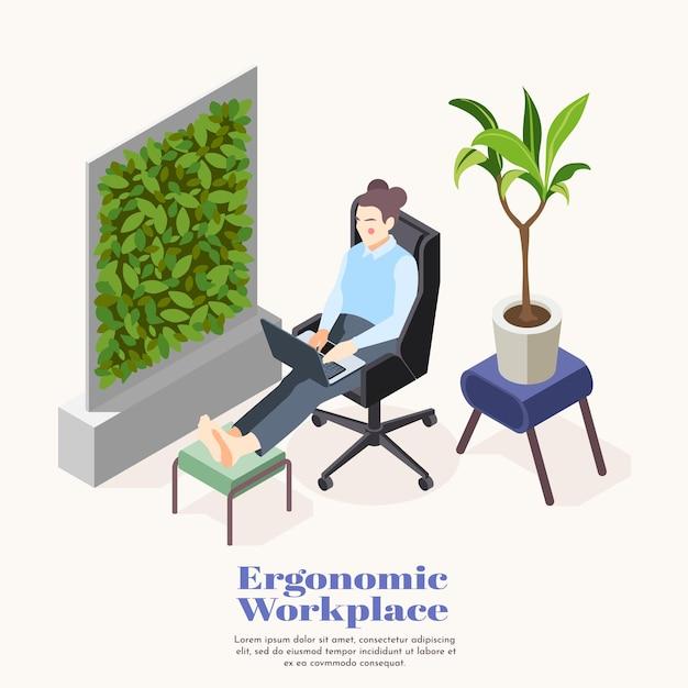 Изометрический шаблон эргономичного рабочего места