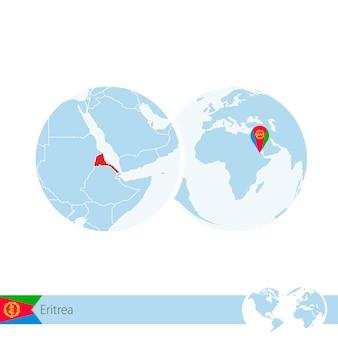 Eritrea on world globe with flag and regional map of eritrea. vector illustration.